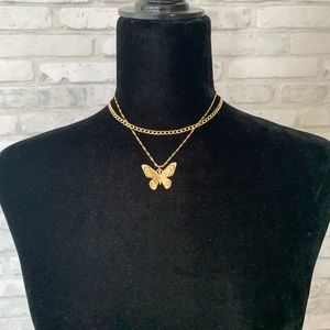 Gold Double Layer Butterfly Necklace